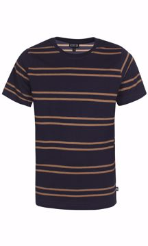 T-shirt stribet navy/sand