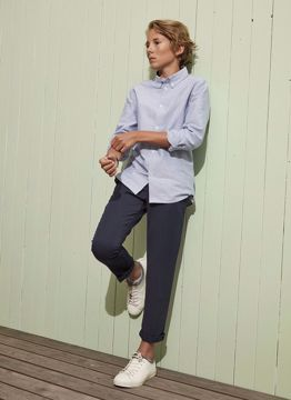 Skjorte stribet lyseblå/hvid