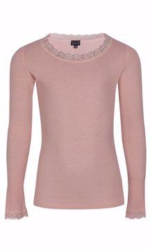 Bluse med blondekanter rose viscose/silke