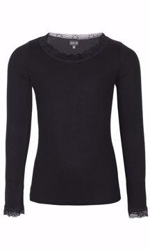 Bluse med blondekanter sort viscose/silke