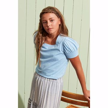 T-shirt med puf lyseblå