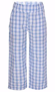 Bukser ternet hvid/lyseblå
