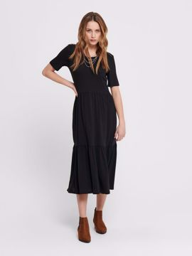 Kjole med kort ærme sort