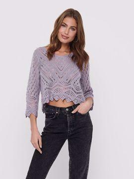 Strik pullover 3/4 ærme lavendel