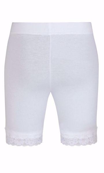 Kort leggins med blondekant hvid