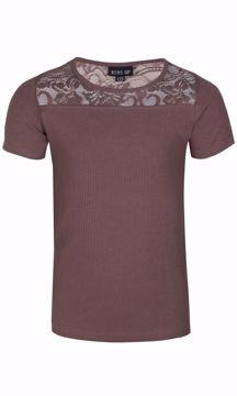 T-shirt med blondekant brun