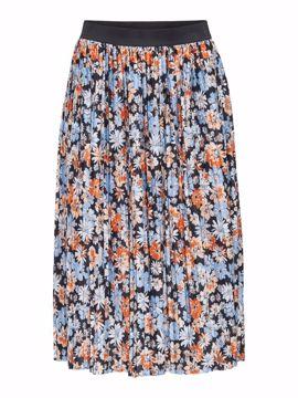 Nederdel plissé lyseblå blomster