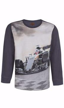 T-shirt med racerbil i petrol
