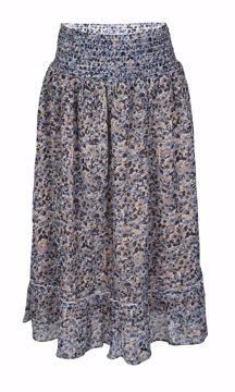 Nederdel med blomster lyseblå