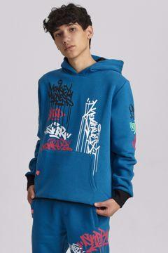 Grafitti Hoodie blue